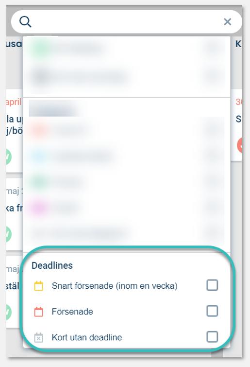 Filtreringsmöjligheter på deadlines